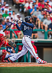 11 March 2016: Atlanta Braves outfielder Nick Markakis in action during a Spring Training pre-season game against the Philadelphia Phillies at Champion Stadium in the ESPN Wide World of Sports Complex in Kissimmee, Florida. The Phillies defeated the Braves 9-2 in Grapefruit League play. Mandatory Credit: Ed Wolfstein Photo *** RAW (NEF) Image File Available ***