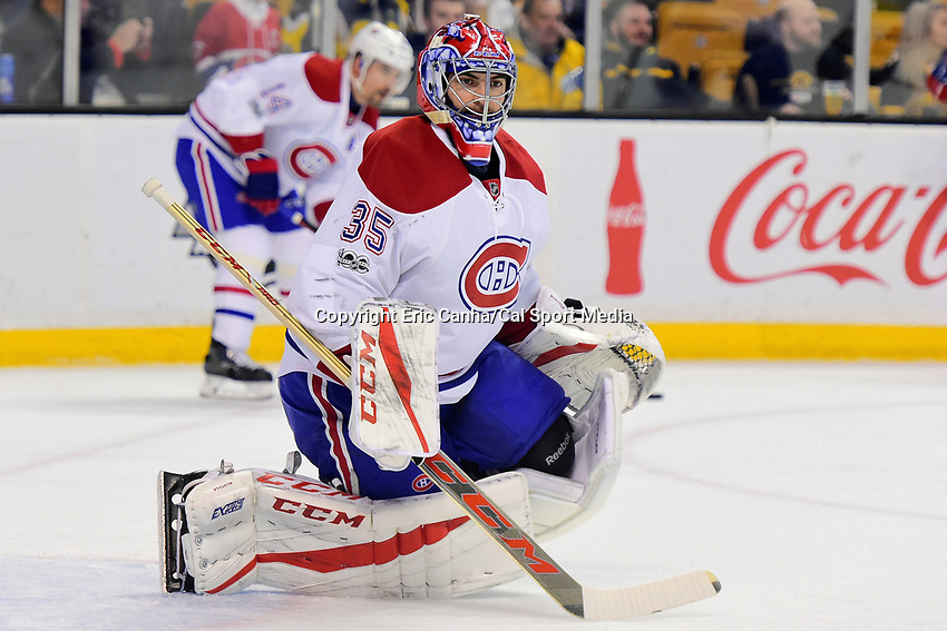 February 12, 2017: Montreal Canadiens goalie Al Montoya (35) warms up prior to the National Hockey League game between the Montreal Canadiens and the Boston Bruins held at TD Garden, in Boston, Mass. Boston defeats Montreal 4-0. Eric Canha/CSM