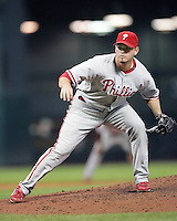 Phillies pitcher Chad Durbin on Saturday May 24th at Minute Maid Park in Houston, Texas. Photo by Andrew Woolley / Four Seam Images.