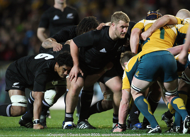 All Blacks prop Owen Franks scrums down during the Tri Nations match between the NZ All Blacks and Australia at Eden Park, Auckland, New Zealand on Saturday 14 July 2009. Photo: Dave Lintott / lintottphoto.co.nz