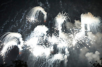 Fireworks are seen from the South Lawn of the White House in Washington, D.C., U.S., on Wednesday, July 4, 2018. Trump's campaign won the technical knockout of a lawsuit filed by two Democratic National Committee donors and a DNC staffer who accused it of colluding with Russian to publish compromising information about the Clinton campaign on WikiLeaks that included details about their lives. <br /> CAP/MPI/RS<br /> &copy;RS/MPI/Capital Pictures