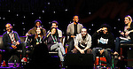 """One Life To Live Renee Elise Goldsberry who stars in Broadway's """"Hamilton - The Musical"""" with Lin-Manuel Miranda (2nd R) and cast Chris Jackson, Phillipa Soo, Okieriete Onadawan, Jonathan Groff, Leslie Odom, Jr., Daveed Diggs (R) - and monterated by Playbill's Blake Ross - all attending the first ever 3-day Broadway Con on January 22 - 24, 2016 at the Hilton Hotel, New York City, New York.  (Photo by Sue Coflin/Max Photos)"""