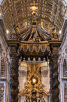 Baroque Canopy, baldacchino and Apse Gloria by Bernini, Saint Peter's Basilica, Vatican City, Rome, Italy