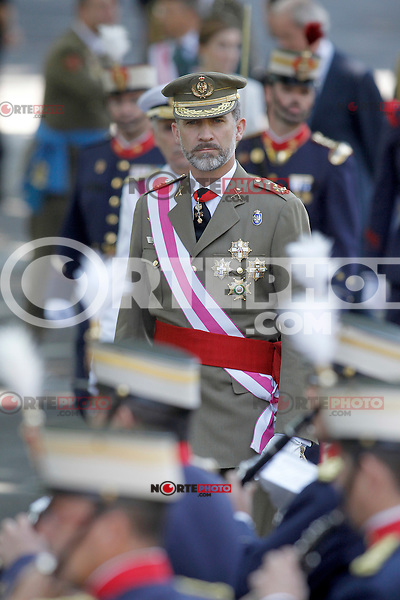 King Felipe VI of Spain attends the 2015 Armed Forces Day Ceremony at the Plaza de la Lealtad. June 6,2015. (ALTERPHOTOS/Acero)