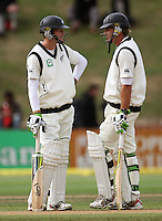 NZ openers Martin Guptill and Tim McIntosh during day four of the 3rd test between the New Zealand Black Caps and India at Allied Prime Basin Reserve, Wellington, New Zealand on Monday, 6 April 2009. Photo: Dave Lintott / lintottphoto.co.nz.