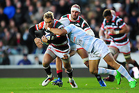 Matthew Tait of Leicester Tigers takes on the Racing 92 defence. European Rugby Champions Cup match, between Leicester Tigers and Racing 92 on October 23, 2016 at Welford Road in Leicester, England. Photo by: Patrick Khachfe / JMP
