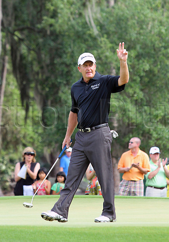 08 May 2010: Fred Funk waving to the fans on the 7th hole during the third round of the 2010 PLAYERS Championship held at the TPC Sawgrass Stadium Course in Ponte Vedra Beach, FL