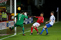 Karlan Ahearne-Grant of Charlton hits the ball just wide of the Portsmouth goal during Charlton Athletic vs Portsmouth, Checkatrade Trophy Football at The Valley on 7th November 2017