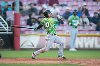 Eugene Emeralds second baseman Levi Jordan (20) follows through on his swing during a Northwest League game against the Salem-Keizer Volcanoes at Volcanoes Stadium on August 31, 2018 in Keizer, Oregon. The Eugene Emeralds defeated the Salem-Keizer Volcanoes by a score of 7-3. (Zachary Lucy/Four Seam Images)