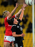 Tyson Beukeboom (left) and Charmaine Smith compete for lineout ball during the 2017 International Women's Rugby Series rugby match between the NZ Black Ferns and Canada at Westpac Stadium in Wellington, New Zealand on Friday, 9 June 2017. Photo: Dave Lintott / lintottphoto.co.nz