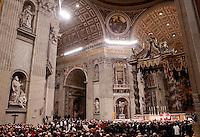 Le teche contenenti le spoglie di San Pio, a sinistra, e di San Leopoldo Mandic, vengono esposte nella Basilica San Pietro, Citta' del Vaticano, 5 febbraio 2016.<br /> The boxes containing the corpses of Saint Pio da Pietralcina, left, and Saint Leopoldo Mandic are displayed in St. Peter's Basilica at the Vatican, 5 February 2016.<br /> UPDATE IMAGES PRESS/Riccardo De Luca<br /> <br /> STRICTLY ONLY FOR EDITORIAL USE