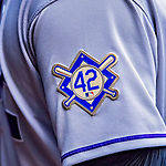15 April 2018: A Jackie Robinson Patch is seen on a Colorado Rockies jersey during play against the Washington Nationals at Nationals Park in Washington, DC. All MLB players wore Number 42 to commemorate the life of Jackie Robinson and to celebrate Black Heritage Day in pro baseball. The Rockies edged out the Nationals 6-5 to take the final game of their 4-game series. Mandatory Credit: Ed Wolfstein Photo *** RAW (NEF) Image File Available ***
