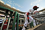 10 July 2008: Washington Nationals shortstop Cristian Guzman emerges from the dugout to take the field and face the Arizona Diamondbacks at Nationals Park in Washington, DC. The Diamondbacks defeated the Nationals 7-5 in 11 innings to take the rubber match of their 3-game series in the Nation's Capitol...Mandatory Photo Credit: Ed Wolfstein Photo