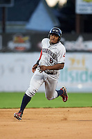 Mahoning Valley Scrappers first baseman Emmanuel Tapia (6) running the bases during a game against the Batavia Muckdogs on June 23, 2015 at Dwyer Stadium in Batavia, New York.  Mahoning Valley defeated Batavia 11-2.  (Mike Janes/Four Seam Images)