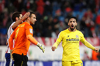 Mario Suarez of Atletico de Madrid and Sergio Asenjo and Costa of Villarreal during La Liga match between Atletico de Madrid and Villarreal at Vicente Calderon stadium in Madrid, Spain. December 14, 2014. (ALTERPHOTOS/Caro Marin) /NortePhoto
