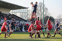 Rory Bartle of London Scottish collects the ball during a line out during the Greene King IPA Championship match between London Scottish Football Club and Jersey at Richmond Athletic Ground, Richmond, United Kingdom on 18 February 2017. Photo by David Horn / PRiME Media Images.
