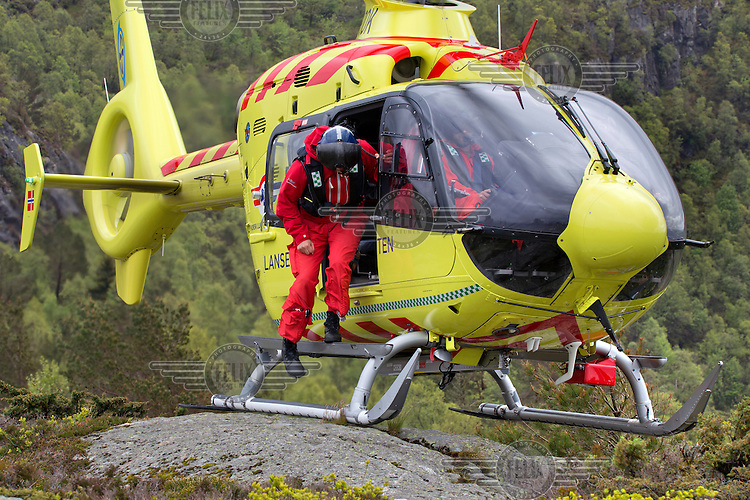 Crew from Norwegian Air Ambulance fly a training mission in the Bergen area. <br /> <br /> &copy;Fredrik Naumann/Felix Features