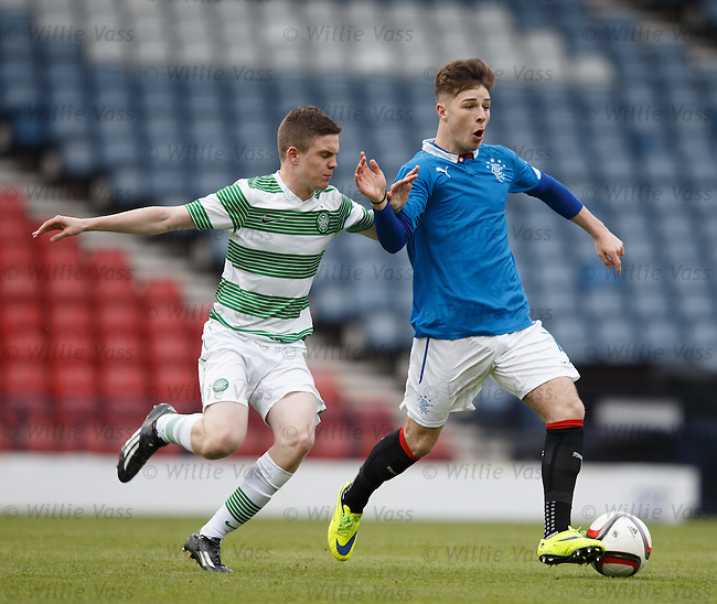 Rangers Josh Jeffries with Celtic's Daniel Church