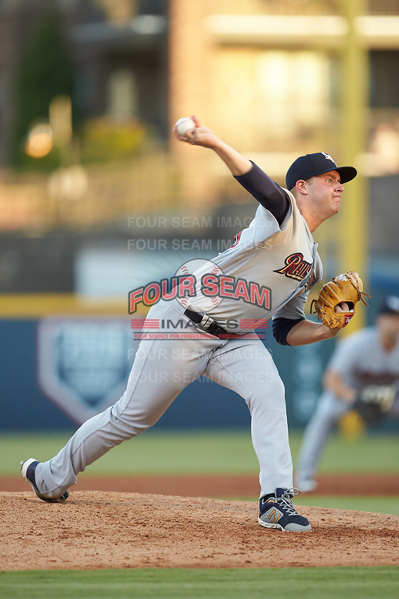 Scranton/Wilkes-Barre RailRiders starting pitcher Michael King (26) in action against the Gwinnett Stripers at BB&T BallPark on August 16, 2019 in Lawrenceville, Georgia. The Stripers defeated the RailRiders 5-2. (Brian Westerholt/Four Seam Images)