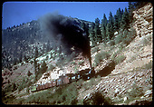 RGS #74 with RMRRC excursion southbound near Lime.  Consist is cabooses #0400 and #0401, three gondolas and business car B-20 &quot;Edna&quot;.<br /> RGS  Lime, CO  Taken by Kindig, Richard H. - 9/1/1951