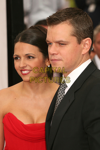 "LUCIANA BARROSO & MATT DAMON.""Ocean's Thirteen"" Los Angeles Premiere at Grauman's Chinese Theatre, Hollywood, California, USA..June 5th, 2007.headshot portrait strapless married husband wife red lipstick .CAP/ADM/BP.©Byron Purvis/AdMedia/Capital Pictures"