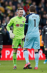 Dean Henderson of Sheffield Utd and Tim Krul of Norwich City  during the Premier League match at Bramall Lane, Sheffield. Picture date: 7th March 2020. Picture credit should read: Simon Bellis/Sportimage