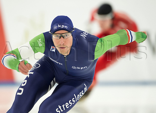 05.03.2016. Berlin, Germany. Jan Blokhuijsen of hte Netherlands in his 500 metre race against Pedersen of Norway, at the ISU World Allround Speed Skating Championships in Berlin.