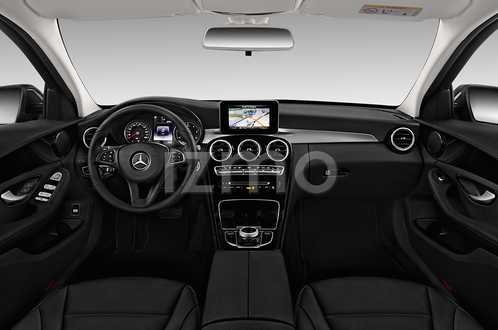 Stock photo of straight dashboard view of a 2018 Mercedes Benz C Class Base 5 Door Wagon