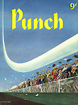 Punch cover, 5 September 1956 (Spectators are thrilled by a low flying jet plane at an airshow)