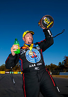 Oct 14, 2019; Concord, NC, USA; NHRA funny car driver Robert Hight celebrates after winning the Carolina Nationals at zMax Dragway. Mandatory Credit: Mark J. Rebilas-USA TODAY Sports