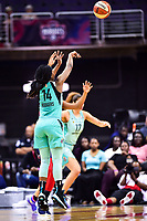 Washington, DC - June 15, 2018: New York Liberty guard Sugar Rodgers (14) hits a jump shot during game between the Washington Mystics and New York Liberty at the Capital One Arena in Washington, DC. (Photo by Phil Peters/Media Images International)