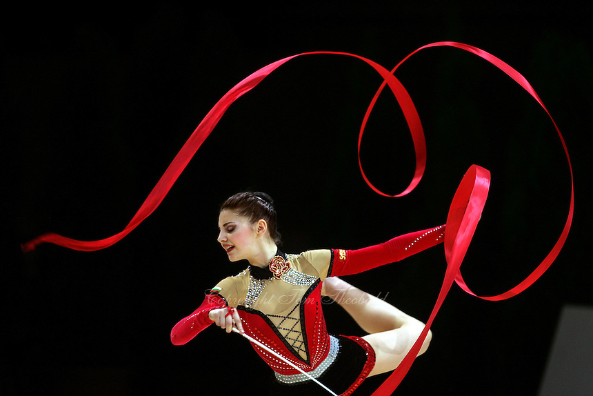 Stela Sultanova of Bulgaria waves with ribbon during All-Around competition at 2006 Thiais Grand Prix in Paris, France on March 25, 2006.  (Photo by Tom Theobald)