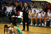 Tall ferns coach Shawn Dennis watches his team during the International women's basketball match between NZ Tall Ferns and Australian Opals at Te Rauparaha Stadium, Porirua, Wellington, New Zealand on Monday 31 August 2009. Photo: Dave Lintott / lintottphoto.co.nz