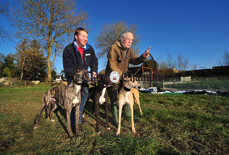 Paddy Quinn, landowner, with Timmy Keane, former chairman of Tradaree Coursing, at the new site. Photograph by Declan Monaghan