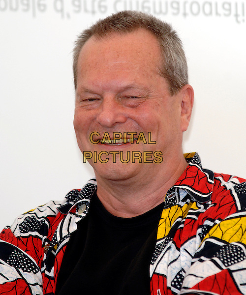 """TERRY GILLIAM.photocall for """"The Bothers Grimm"""".62nd International Film Festival,.Venice, 4th September 2005.portrait headshot La Biennale black white yellow pattern shirt .Ref: PL.www.capitalpictures.com.sales@capitalpictures.com.©Capital Pictures."""