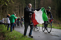 Italian fan up the Col du Rosier<br /> <br /> 102nd Liège-Bastogne-Liège 2016