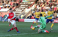 Fleetwood Town's Ched Evans competing with Charlton Athletic's goalkeeper Dillon Phillips  <br /> <br /> Photographer Andrew Kearns/CameraSport<br /> <br /> The EFL Sky Bet League One - Fleetwood Town v Charlton Athletic - Saturday 2nd February 2019 - Highbury Stadium - Fleetwood<br /> <br /> World Copyright © 2019 CameraSport. All rights reserved. 43 Linden Ave. Countesthorpe. Leicester. England. LE8 5PG - Tel: +44 (0) 116 277 4147 - admin@camerasport.com - www.camerasport.com
