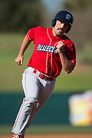Brett Barbier (8) of the Lakewood BlueClaws hustles towards third base against the Kannapolis Intimidators at Kannapolis Intimidators Stadium on April 9, 2017 in Kannapolis, North Carolina.  The BlueClaws defeated the Intimidators 7-1.  (Brian Westerholt/Four Seam Images)