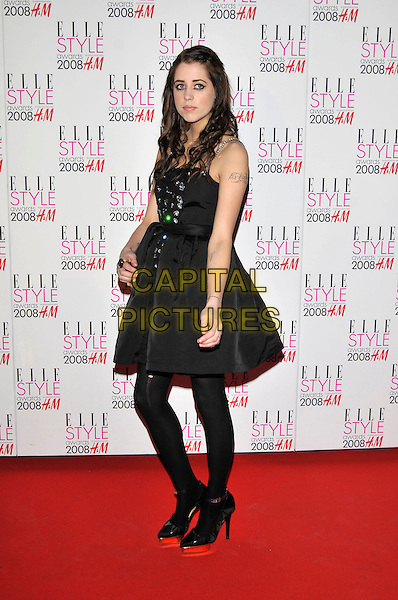 PEACHES GELDOF.ELLE Style Awards 2008, The Westway, London, England,.12th February 2008..full length black dress tattoo on arm tights shoes.CAP/PL.©Phil Loftus/Capital Pictures