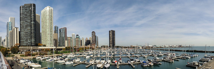 Panorama of the DuSable Harbor on the Chicago lakefront.  (DePaul University/Jamie Moncrief)