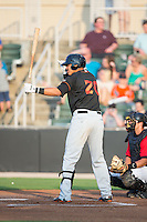 Jomar Reyes (20) of the Delmarva Shorebirds at bat against the Kannapolis Intimidators at CMC-Northeast Stadium on June 6, 2015 in Kannapolis, North Carolina.  The Shorebirds defeated the Intimidators 7-2.  (Brian Westerholt/Four Seam Images)