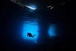 Diver exploring Blue Cave