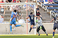 Bridgeview, IL - Sunday May 29, 2016: Chicago Red Stars goalkeeper Michele Dalton (18) defends the attack of Sky Blue FC forward Kim DeCesare (12) during a regular season National Women's Soccer League (NWSL) match at Toyota Park.