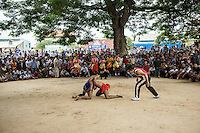 04/10/2013 - Vihear Suor (Kandal - Cambodia). Cambodians compete in a Khmer wrestling match during the annual Pchum Ben (Festival of the Dead) held in the small village of VIhear Suor. © Thomas Cristofoletti / Ruom.