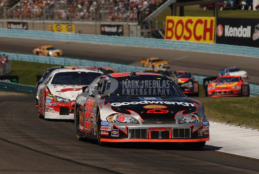 Aug. 13, 2006; Watkins Glen, NY, USA; Nascar Nextel Cup driver Kevin Harvick (29) leads a pack of cars during the AMD at the Glen at Watkins Glen International. Mandatory Credit: Mark J. Rebilas