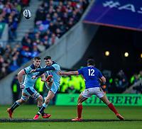8th March 2020; Murrayfield Stadium, Edinburgh, Scotland; International Six Nations Rugby, Scotland versus France; Adam Hastings of Scotland kicks the ball upfield