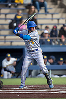 San Jose State Spartans third baseman Troy Viola (8) at bat against the Michigan Wolverines on March 27, 2019 in Game 1 of the NCAA baseball doubleheader at Ray Fisher Stadium in Ann Arbor, Michigan. Michigan defeated San Jose State 1-0. (Andrew Woolley/Four Seam Images)