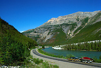 Alaska Highway along Racing River in Northern Rocky Mountains, Northern BC, British Columbia, Canada