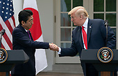 United States President Donald J. Trump and Japanese Prime Minister Shinzo Abe hold a news conference at the White House in Washington, DC, June 7, 2018. Credit: Chris Kleponis / CNP