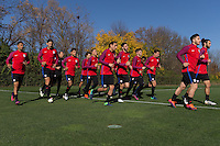 Columbus, OH - Monday November 7, 2016: The U.S. Men's National team train in preparation for their Hexagonal round match vs Mexico at Obetz EAS Training Center.
